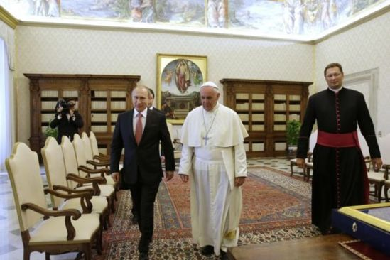 His Holiness Pope Francis and Russian President Vladimir Putin