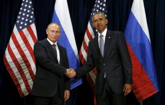 U.S. President Barack Obama shakes hands with Russian President Vladimir Putin during their meeting at the United Nations General Assembly in New York September 28, 2015. REUTERS/Kevin Lamarque